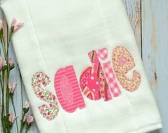 Personalized Appliqued Embroidered Pink Floral Burp Cloth for Baby Girl Monogrammed Baby Shower Gift