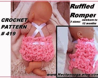 BABY CROCHET PATTERN, baby romper diaper cover  Ruffled Baby Bibbed Romper # 419 newborn to 6 months, ok to sell them