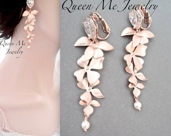 Clip on Rose gold pearl orchid wedding earrings Cascading orchid clip on chandelier earrings Pearl earrings Rose gold chandelier earrings