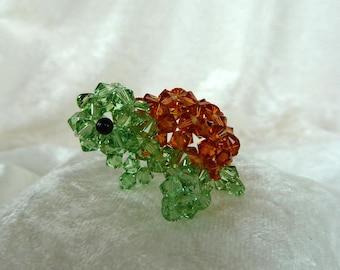 Crystal Sea Tortoise, Japanese Beadweave with Swarovski Bicone Beads