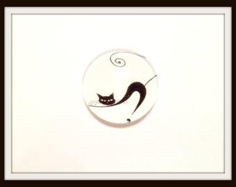 Cat black 18 mm glass Cabochon Dome 1 x