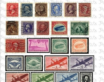 Vintage US Stamps Digital Download Collage Sheet