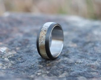 Deer Antler Ring with Carbon Fiber and Stainless Steel