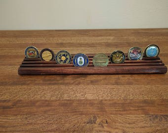 36 Coin Challenge Coin Holder Cypress with Walnut or Mahogany Stain-Veteran Made