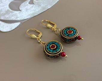 Tribal Dangle Boho Earrings, Round Drop Dangle, Ethnic Leverback Earrings, Gypsy Nepal Jewelry, Birthday Gift, Turquoise Coral Drop