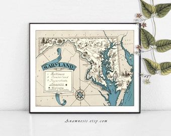 MARYLAND MAP- Instant Digital Download - printable picture map for framing, totes, pillows & cards - lovely vintage map wall decor