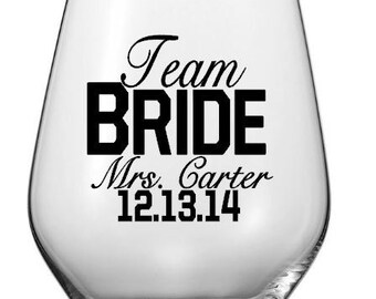 SINGLE DIY Team Bride Wedding Party Wine Glass or Tumbler Decals, Personalized Team Bride Wine Glass Decals, Glass NOT included