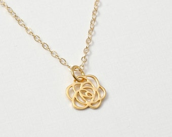 Tiny Gold open work Rose charm necklace
