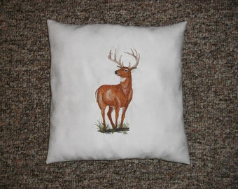 Deer White Embroidered Suede Handmade Pillow, Lodge Decor, Cabin Decor, Decorative Pillow