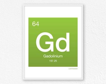 64 Gadolinium, Periodic Table Element | Periodic Table of Elements, Science Wall Art, Science Poster, Science Print, Science Gift