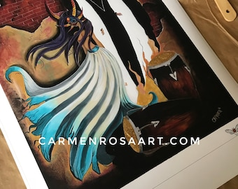 Limited Edition, hand embellished print: Angustia