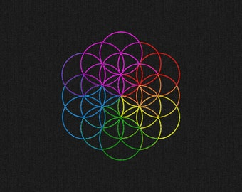 Coldplay style symbol Flower of life - A head full of dreams Machine embroidery design 3 sizes for instant download