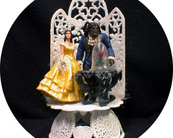 NEWEST Disney Enchanted Rose Beauty and the Beast Wedding Cake Topper Belle top Classic. Groom top Custom