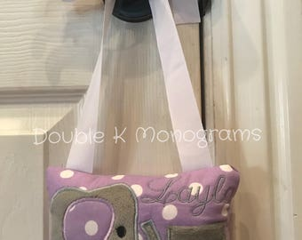 Personalized Elephant Toothfairy Pillow / Tooth Holder Door Hanger / Toothfairy Door Hanger