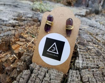 Amethyst and gold stud earrings