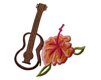 ID 6320 Ukulele and Hibiscus Patch Flower Hawaii Embroidered Iron On Applique