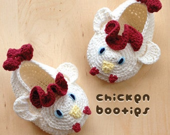 Crochet Pattern - Chicken Baby Booties Rooster Preemie Socks Animal Shoes Chicken Applique Cockerel Cock Baby Slippers Crochet (CB01-W-PAT)