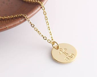 Personalized Disc Necklace, Cross Initials Necklace Jewelry, Mother's Gift Idea, Monogram Necklace, Christmas Gift