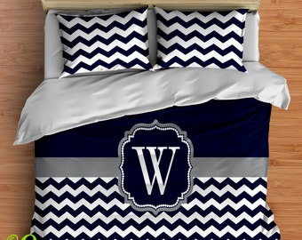 Custom Chevron Bedding in Comforter or Duvet style features YOUR CHOICE of colors! Your one of a kind Bedding Personalized with a Monogram