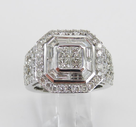 White Gold 2.50 ct Diamond Halo Cluster Engagement Ring Princess Cut Square Size 7