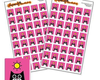 "Sunshine sticker sheet pink, 80 square weather stickers for your planner, diary or calendar, 12mm / 0.5"" weather icons"
