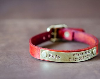 Leather Collar for Cats and Small Dogs