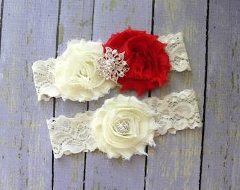 Garter Wedding, Red Garter Set, Ivory Garter, Custom Garter, Red Garters, Bridal Garter, Wedding Garter Belt, Thigh Garter, Red Wedding