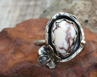 Wild Horse Magnesite Ring w/ Sterling Silver Cast Forget-Me-Not & Branch Twig Botanical Elements - Artisan Crafted Woodland Jewelry