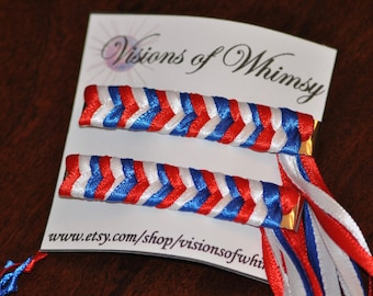 3 color Braided Ribbon Barrettes,  Set of 2 Barrettes, Red White and Blue