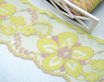 Vintage Yellow Floral Lace Trim