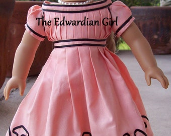 1865 coral and black doll dress, based on Wisconsin Historical Society dress. For 18 inch play dolls such as American Girl. Made in USA