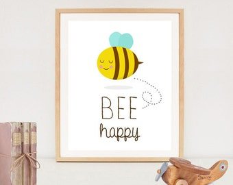 Bee happy nursery wall art poster - Be happy Inspirational Quote - wall decor printable - INSTANT DOWNLOAD