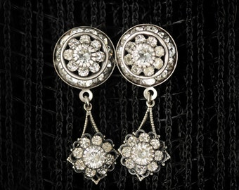 "Sparkling Clear Swarovski Crystal Art Deco Post Earrings with Antiqued Silver Dangles, Vintage Inspired, (B3-3-1) ""Taken Aback"""