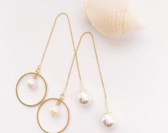 Threader Earrings, Pearl Earrings, Gold Plated Earrings, Sterling Silver Earrings, Mother's day Gift, Birthday Gift, Party Earrings