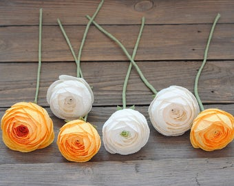 Orange and white Paper ranunculuses, paper flowers, wedding bouquet, alternative