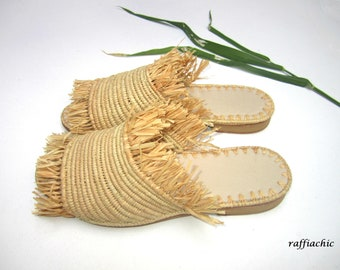 raffiachic Moroccan handmade shoes made of natural raffia,  and soles real leather
