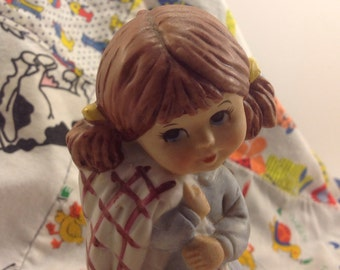 l971 Moppets Fran Mar Japan painted bisque figurine girl in blue with favorite security blanket