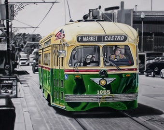 Original pastel chalk drawing San Francisco street car