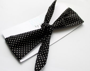Black and White Polka Dot Head Scarf - Headband