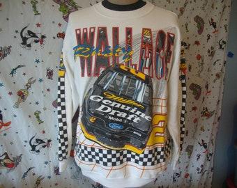 Vintage Rusty Wallace Miller Genuine Draft MGD Racing Team Nascar Beer made in USA Sweatshirt Size XL
