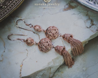 Songket Bali Rose Gold Earrings / Balinese Drop Chain Earrings / 925 Sterling Silver / Rose Gold Plated / Balinese Jewelry