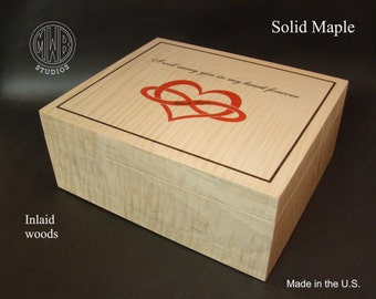 Custom Inlaid Keepsake box with free shipping within the U.S.