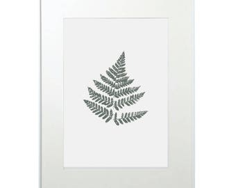 Nordic Fern - Green Enda - Silk Screen Print - Artprint - Botanical - Indoor Green - Limited Edition - Made in Britain