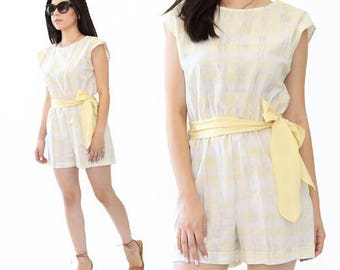 Vintage 80s yellow romper playsuit shorts S