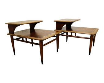 Pair of Mid-Century End Tables Danish Modern Andre Bus Lane Acclaim 2-Tiered Side Tables