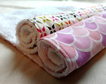 Set of 2 Baby Burp Cloths pink baby gift