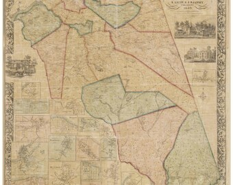 Burlington County  New Jersey 1859 Old Wall Map - Reprint with Homeowner Names