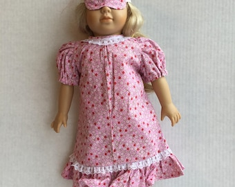 """Doll pajamas with eye mask. Made for 18"""" doll."""