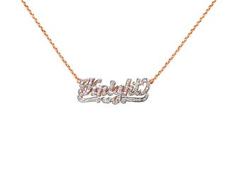 NP12cz-14K Gold Sophisticated Script 3D Name Necklace with Cubic Zirconia