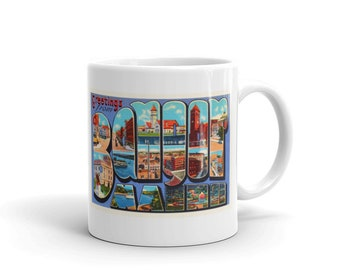 Mug – Bangor ME Greetings From Maine Big Large Letter Postcard Retro Travel Gift Souvenir Coffee or Tea Cup